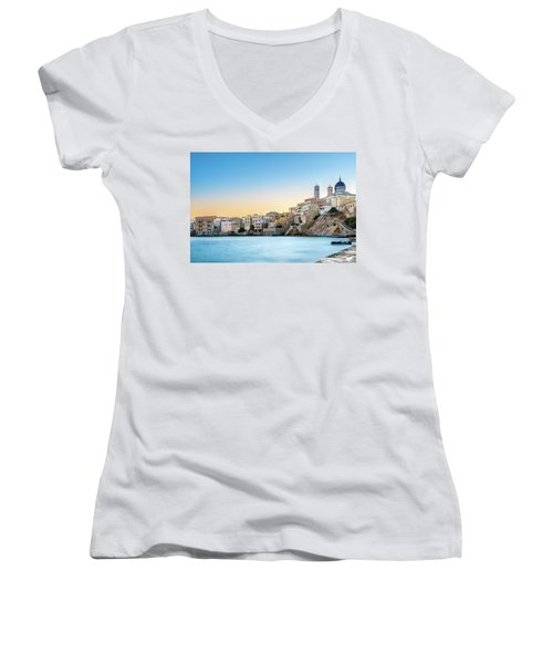 Ermoupoli - Syros / Greece. Women's V-Neck T-Shirt (Junior Cut) by Stavros Argyropoulos