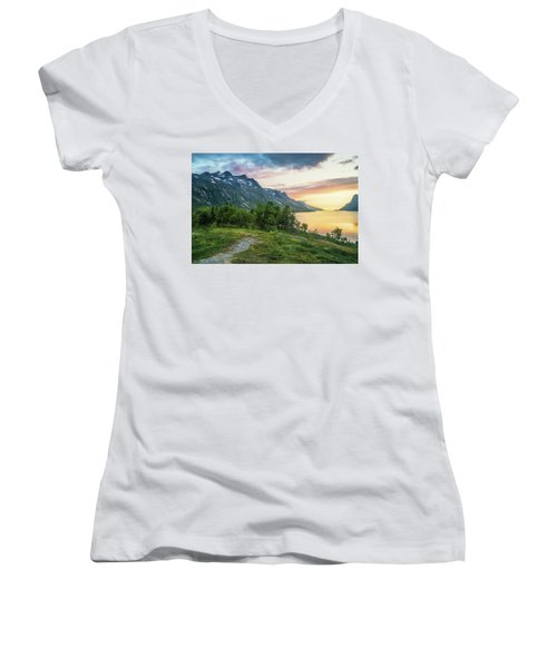 Ersfjord Sunset Women's V-Neck T-Shirt