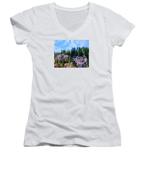 Women's V-Neck T-Shirt (Junior Cut) featuring the photograph Escarpment 2 by Timothy Bulone