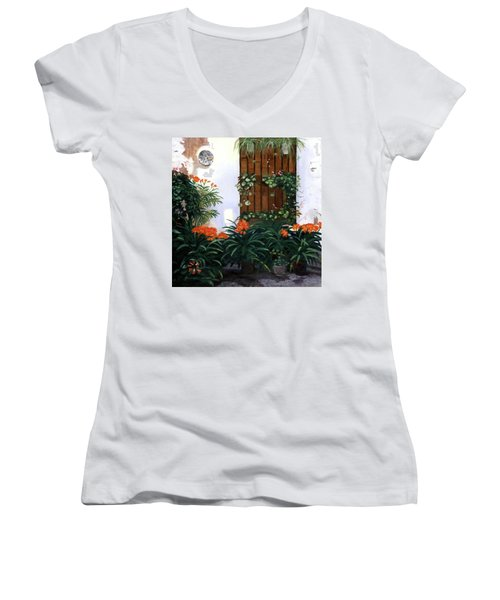 Women's V-Neck T-Shirt (Junior Cut) featuring the painting Espana by Lynne Reichhart