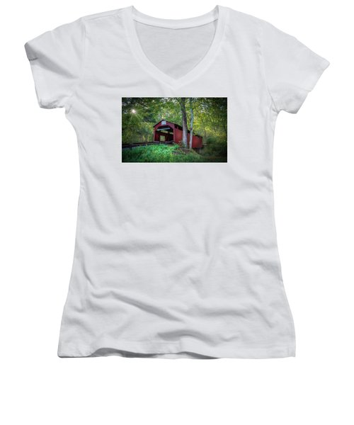 Women's V-Neck T-Shirt (Junior Cut) featuring the photograph Esther Furnace Bridge by Marvin Spates