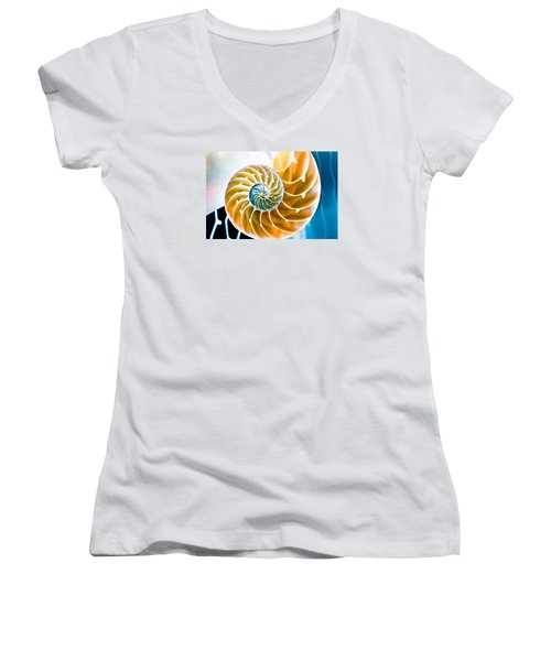 Eternal Golden Spiral Women's V-Neck T-Shirt (Junior Cut) by Colleen Kammerer