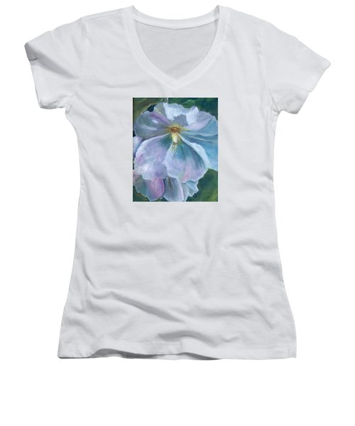 Ethereal White Hollyhock Women's V-Neck (Athletic Fit)