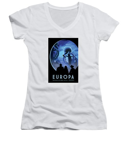 Europa Discover Life Under The Ice - Nasa Vintage Poster Women's V-Neck