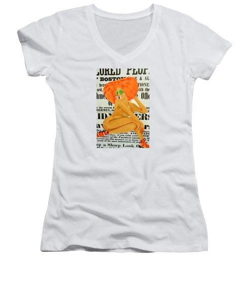 Eve  Caution Women's V-Neck T-Shirt (Junior Cut) by Deedee Williams