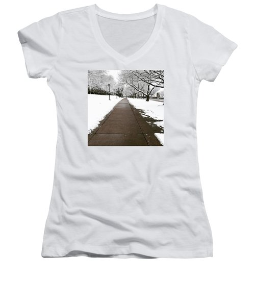 Winter Walks  Women's V-Neck T-Shirt (Junior Cut) by Cyrionna The Cyerial Artist