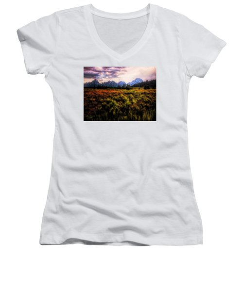 Evening At The Grand Tetons  ... Women's V-Neck (Athletic Fit)