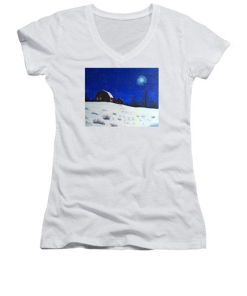 Evening Chores Women's V-Neck T-Shirt (Junior Cut) by Brenda Bonfield
