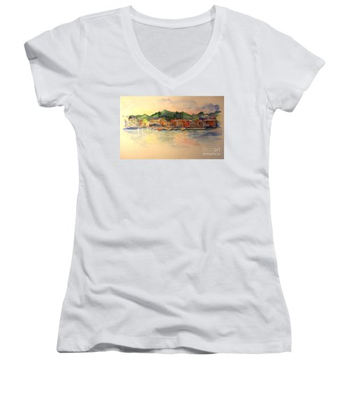 Evening In Skaneateles Women's V-Neck T-Shirt
