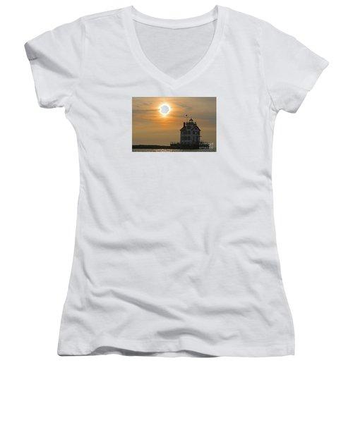 Evening Lighthouse 1 Women's V-Neck T-Shirt