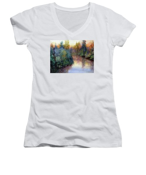 Evening On The Willamette Women's V-Neck (Athletic Fit)