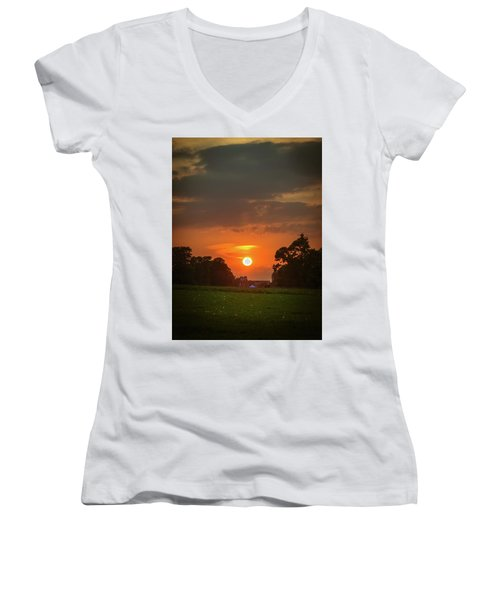 Evening Sun Over Picnic Women's V-Neck T-Shirt