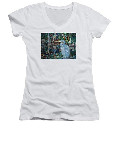 Everglades Women's V-Neck T-Shirt (Junior Cut) by Donald Maier