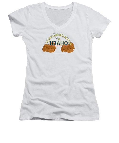 Everything's Better In Idaho Women's V-Neck T-Shirt (Junior Cut) by Pharris Art