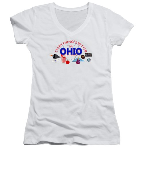 Everything's Better In Ohio Women's V-Neck T-Shirt (Junior Cut) by Pharris Art