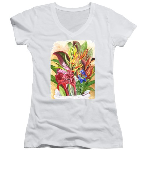 Women's V-Neck T-Shirt (Junior Cut) featuring the painting Everywhere There Were Flowers by Eric Samuelson