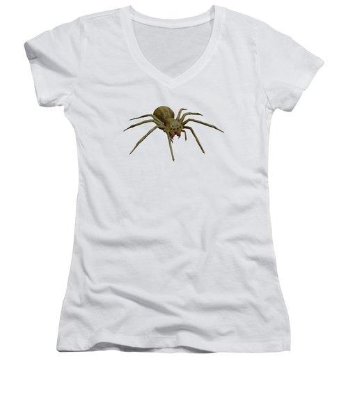 Evil Spider Women's V-Neck T-Shirt (Junior Cut) by Martin Capek