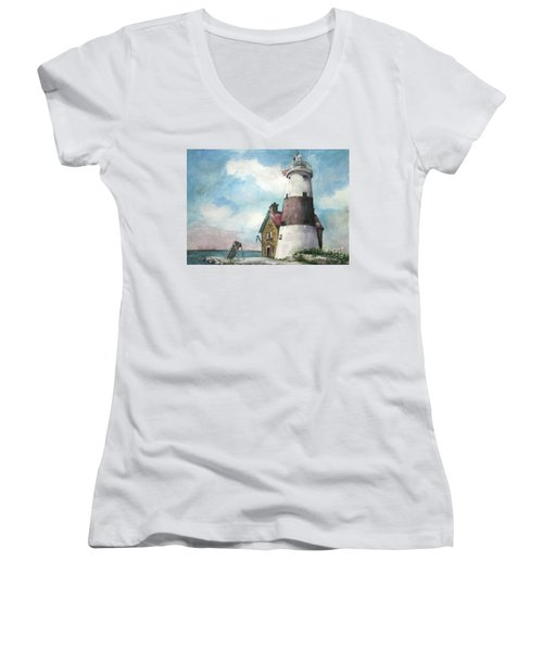 Women's V-Neck T-Shirt (Junior Cut) featuring the painting Execution Rocks Lighthouse by Susan Herbst