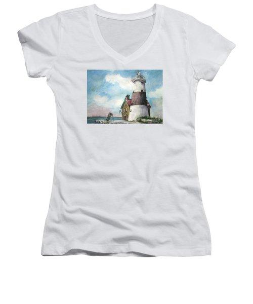 Execution Rocks Lighthouse Women's V-Neck T-Shirt (Junior Cut) by Susan Herbst