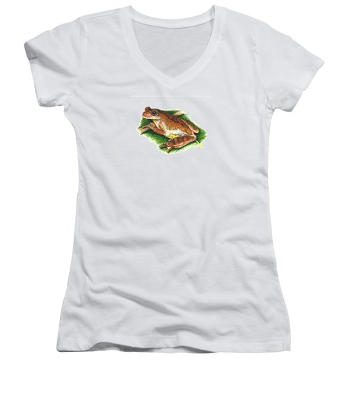 Executioner Treefrog Women's V-Neck T-Shirt (Junior Cut) by Cindy Hitchcock