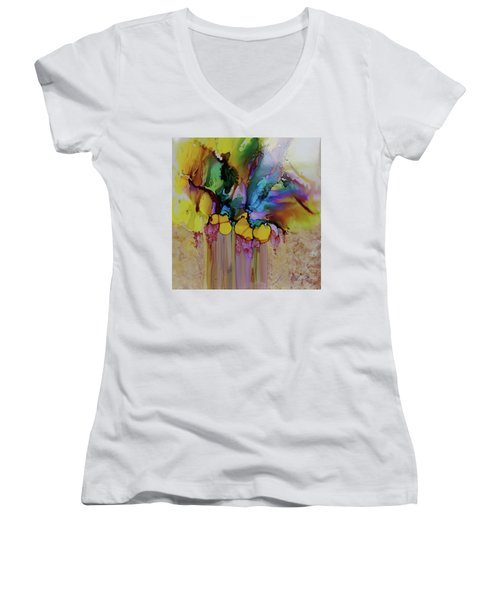 Women's V-Neck T-Shirt (Junior Cut) featuring the painting Explosion Of Petals by Joanne Smoley