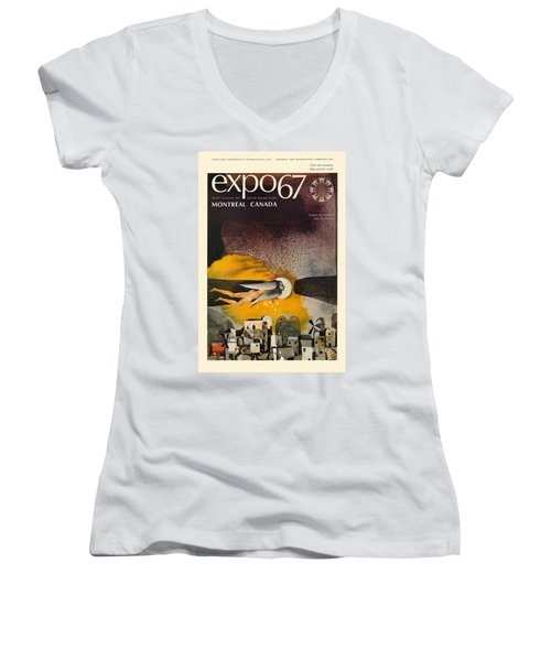 Expo 67 Women's V-Neck T-Shirt (Junior Cut) by Andrew Fare
