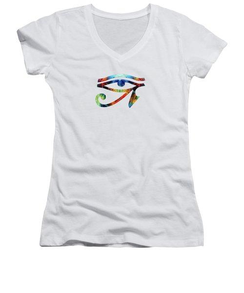 Eye Of Horus - By Sharon Cummings Women's V-Neck