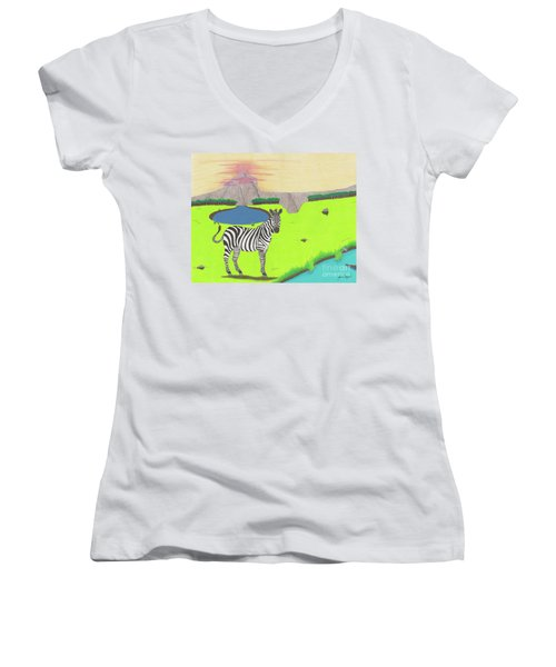 Women's V-Neck featuring the drawing Eye See You by John Wiegand