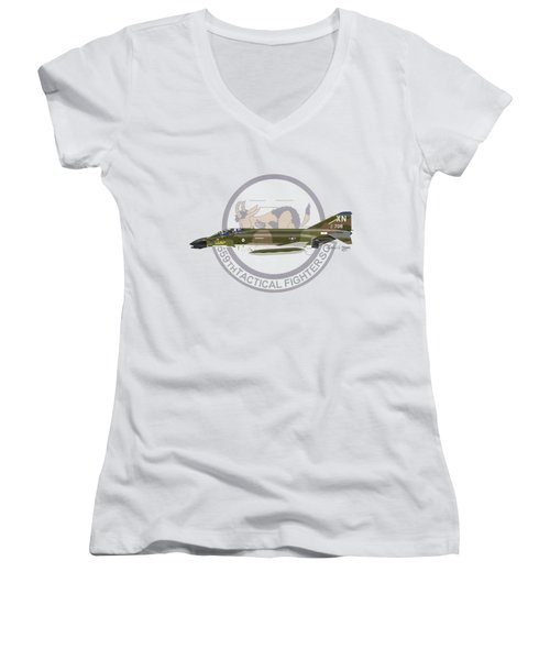 F-4d Phantom 559tfs Women's V-Neck T-Shirt (Junior Cut) by Arthur Eggers