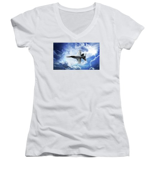 Women's V-Neck T-Shirt featuring the photograph F18 Fighter Jet by Aaron Berg