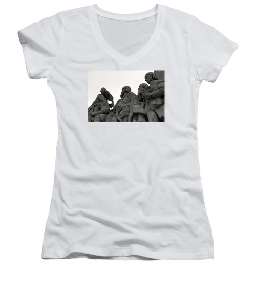 Women's V-Neck T-Shirt (Junior Cut) featuring the photograph Faces Of The Monument by Lorraine Devon Wilke
