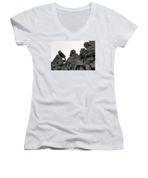 Faces Of The Monument Women's V-Neck T-Shirt (Junior Cut) by Lorraine Devon Wilke