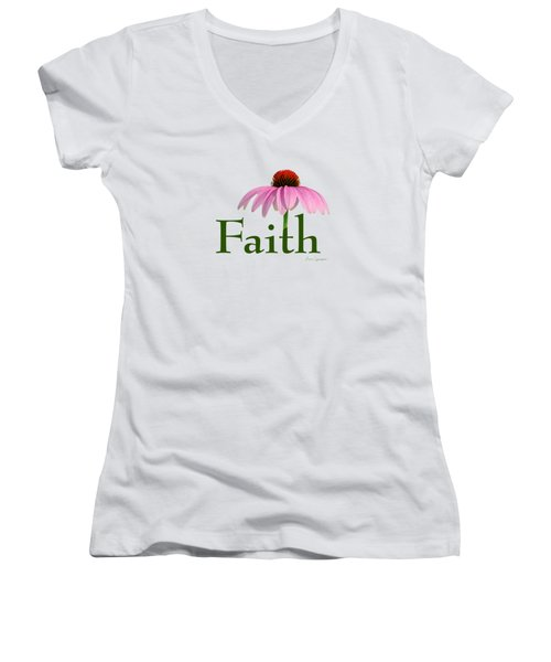 Women's V-Neck T-Shirt (Junior Cut) featuring the digital art Faith Coneflower Shirt by Ann Lauwers