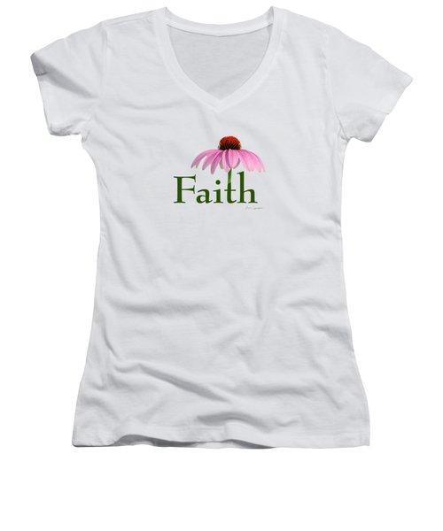 Faith Coneflower Shirt Women's V-Neck T-Shirt
