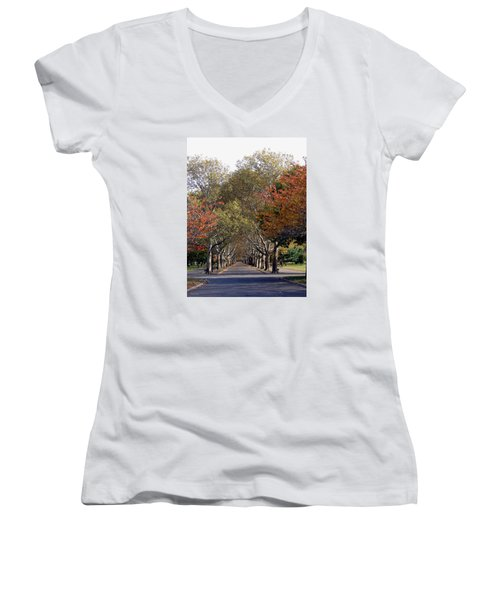 Fall At Corona Park Women's V-Neck (Athletic Fit)