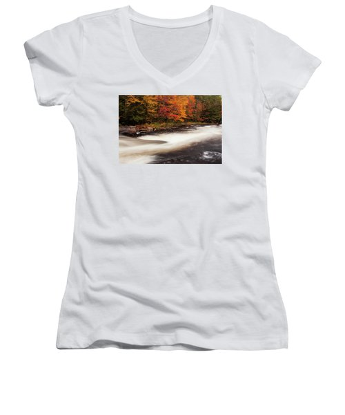 Fall At Oxtongue Rapids Women's V-Neck (Athletic Fit)