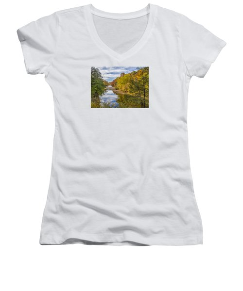 Fall At Turkey Run State Park Women's V-Neck T-Shirt (Junior Cut) by Alan Toepfer