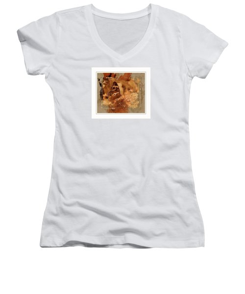 Fall Butterfly Women's V-Neck T-Shirt (Junior Cut) by Karen McKenzie McAdoo