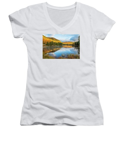 Fall By The Lake Women's V-Neck T-Shirt
