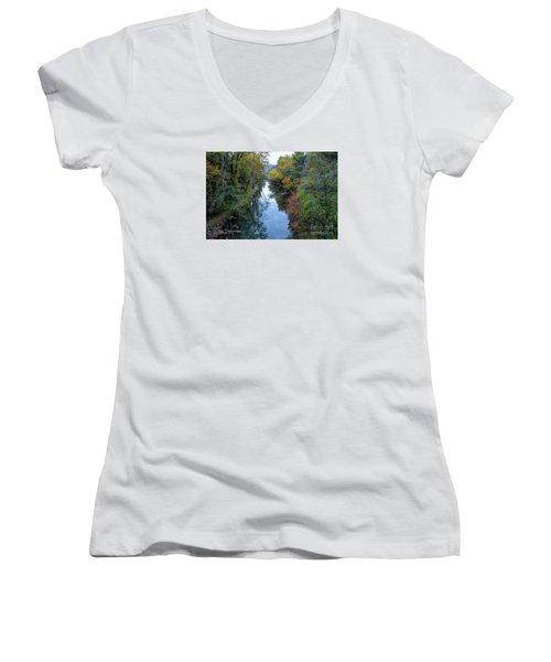 Fall Colors Along The Tallulah River Women's V-Neck T-Shirt