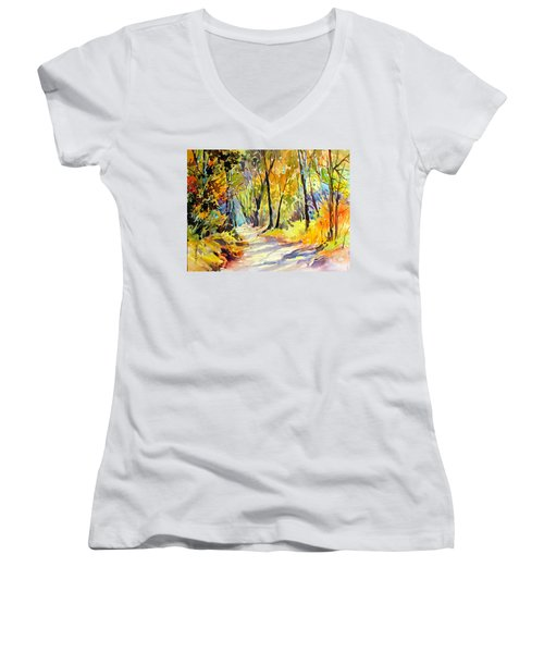 Fall Dazzle, Tennessee Women's V-Neck T-Shirt (Junior Cut) by Rae Andrews