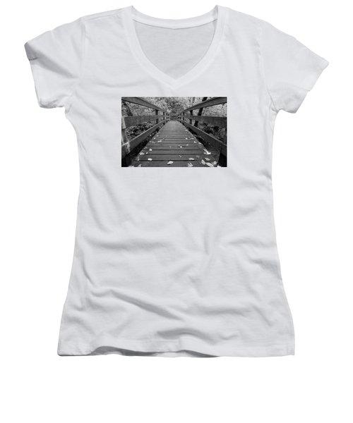 Women's V-Neck T-Shirt (Junior Cut) featuring the photograph Fall In Oregon Bw by Jonathan Davison