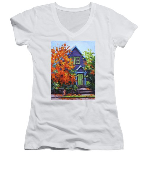 Fall In The Neighborhood Women's V-Neck T-Shirt (Junior Cut) by Karen Ilari