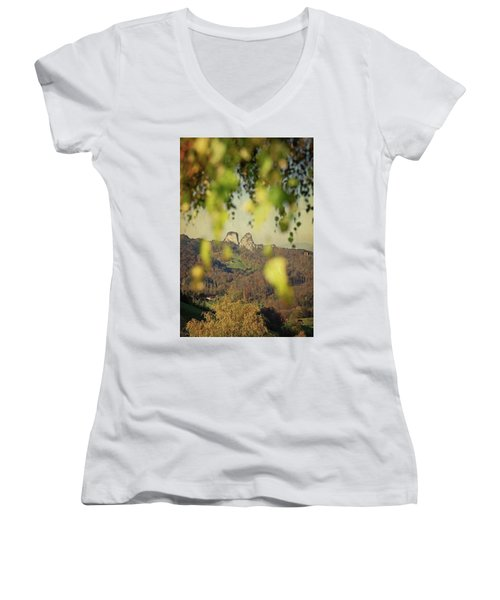 Fall-ing Leaves Women's V-Neck (Athletic Fit)