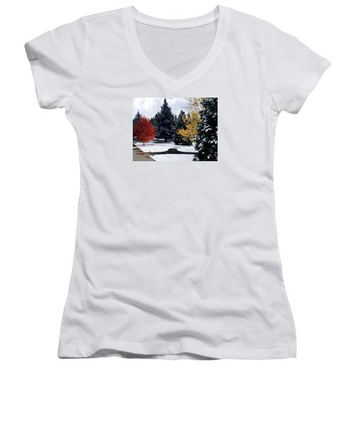 Fall Into Winter Women's V-Neck (Athletic Fit)