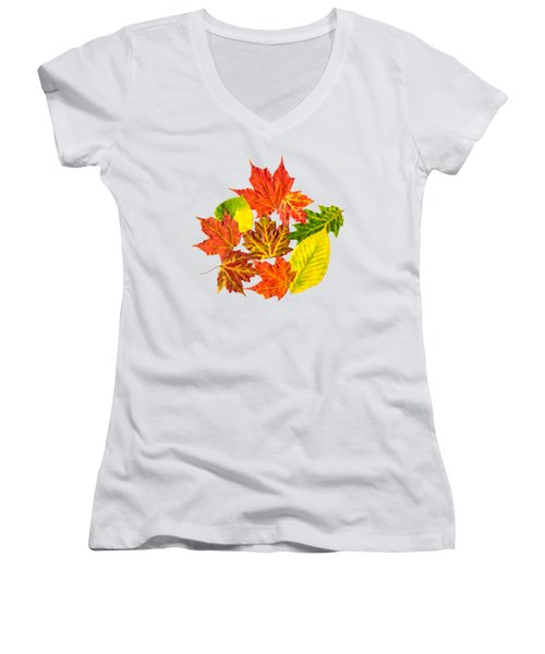 Women's V-Neck T-Shirt (Junior Cut) featuring the mixed media Fall Leaves Pattern by Christina Rollo