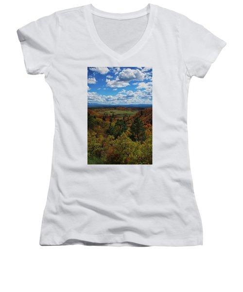 Fall On Four Mile Road Women's V-Neck T-Shirt (Junior Cut) by Jason Coward