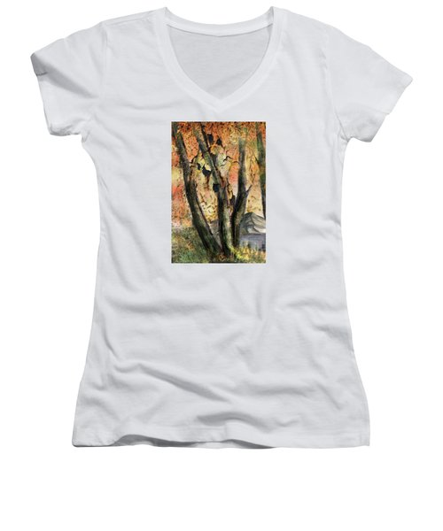 Women's V-Neck T-Shirt (Junior Cut) featuring the painting Fall Splendor  by Annette Berglund