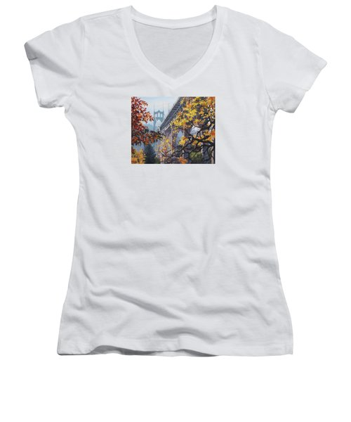 Women's V-Neck T-Shirt (Junior Cut) featuring the painting Fall St Johns by Karen Ilari