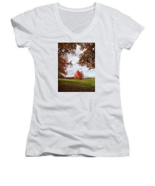 Fall Trees At Oatlands Women's V-Neck T-Shirt